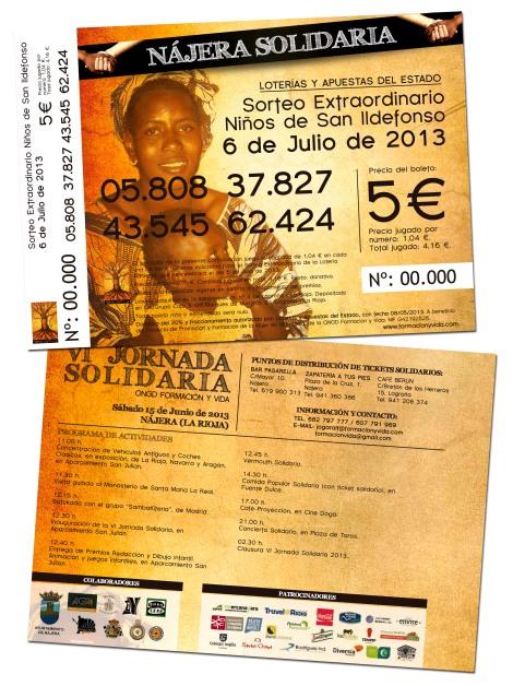 Anverso y reverso de las participaciones de lotería solidaria.